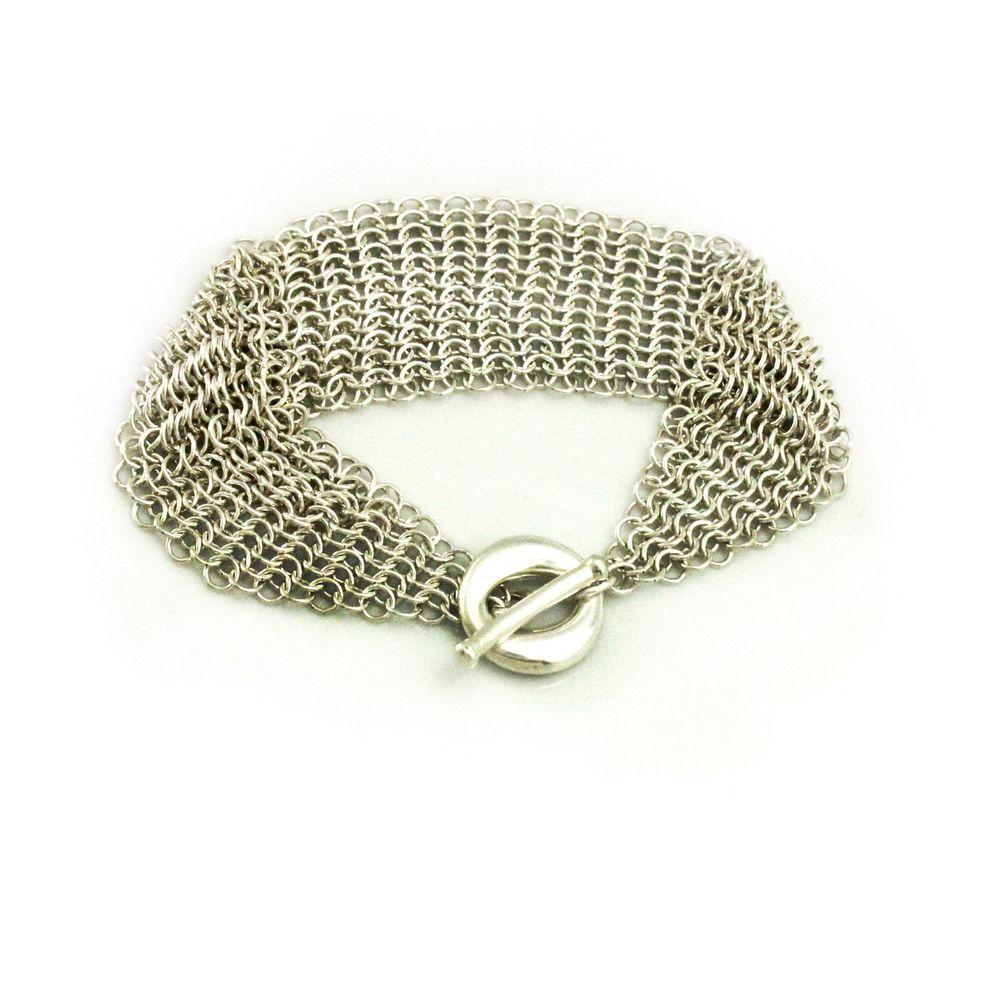 Tiffany & Co. Elsa Peretti Sevillana Mesh Toggle Bracelet in Sterling Silver