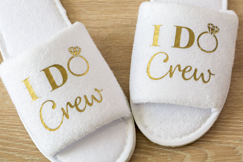 c1873558707f4 Bridesmaid Slippers Personalised I Do Crew Wedding Slippers Bride ...