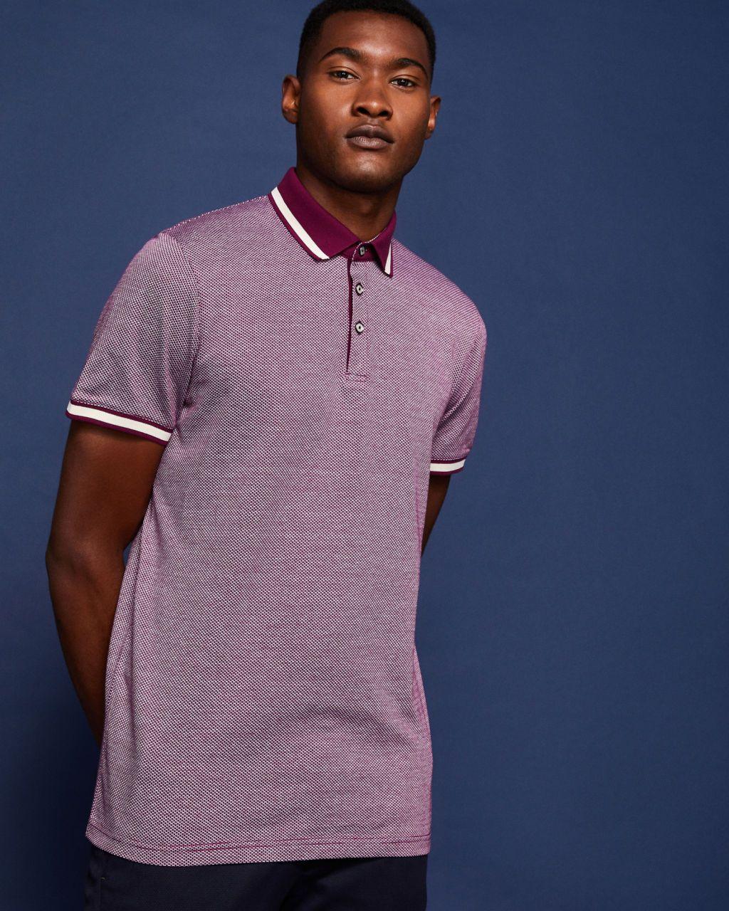 6b9ef776a1b2 Striped collar cotton polo shirt - Purple