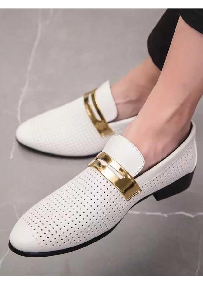 White Golden Panel Hollow Leather Slip On Dress Shoe Dress Shoes Men Leather Slip On Shoes Leather Slip Ons [ 1200 x 856 Pixel ]