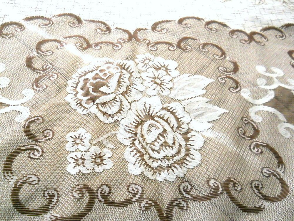 New Oval Lace Tablecloth Tan Brown Cream Flowers Scalloped Edges Mexican 60  X 90