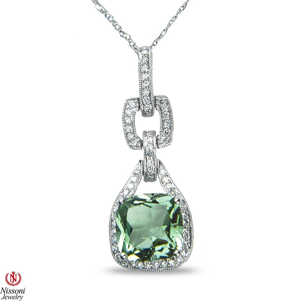 Ebay NissoniJewelry presents - Ladies 1/3CT Diamond Pendant and chain with Green Amethyst in 14k White Gold    Model Number:PV4178J-W453GAM    http://www.ebay.com/itm/Ladies-1-3CT-Diamond-Pendant-and-chain-with-Green-Amethyst-in-14k-White-Gold/221630358510