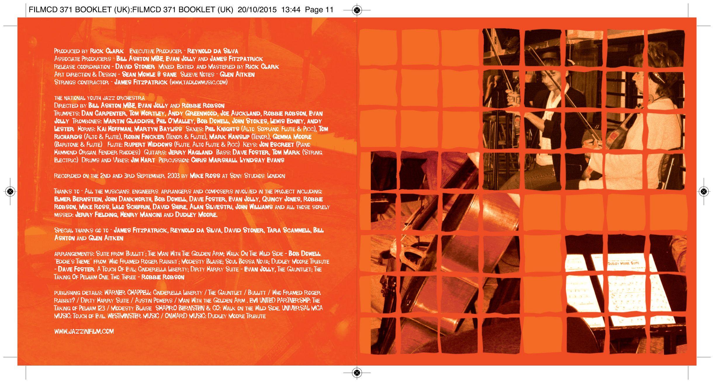 Jazz In Film CD booklet inside spread. Client: Silva Screen Records. Circa 2003. © Sean Mowle.