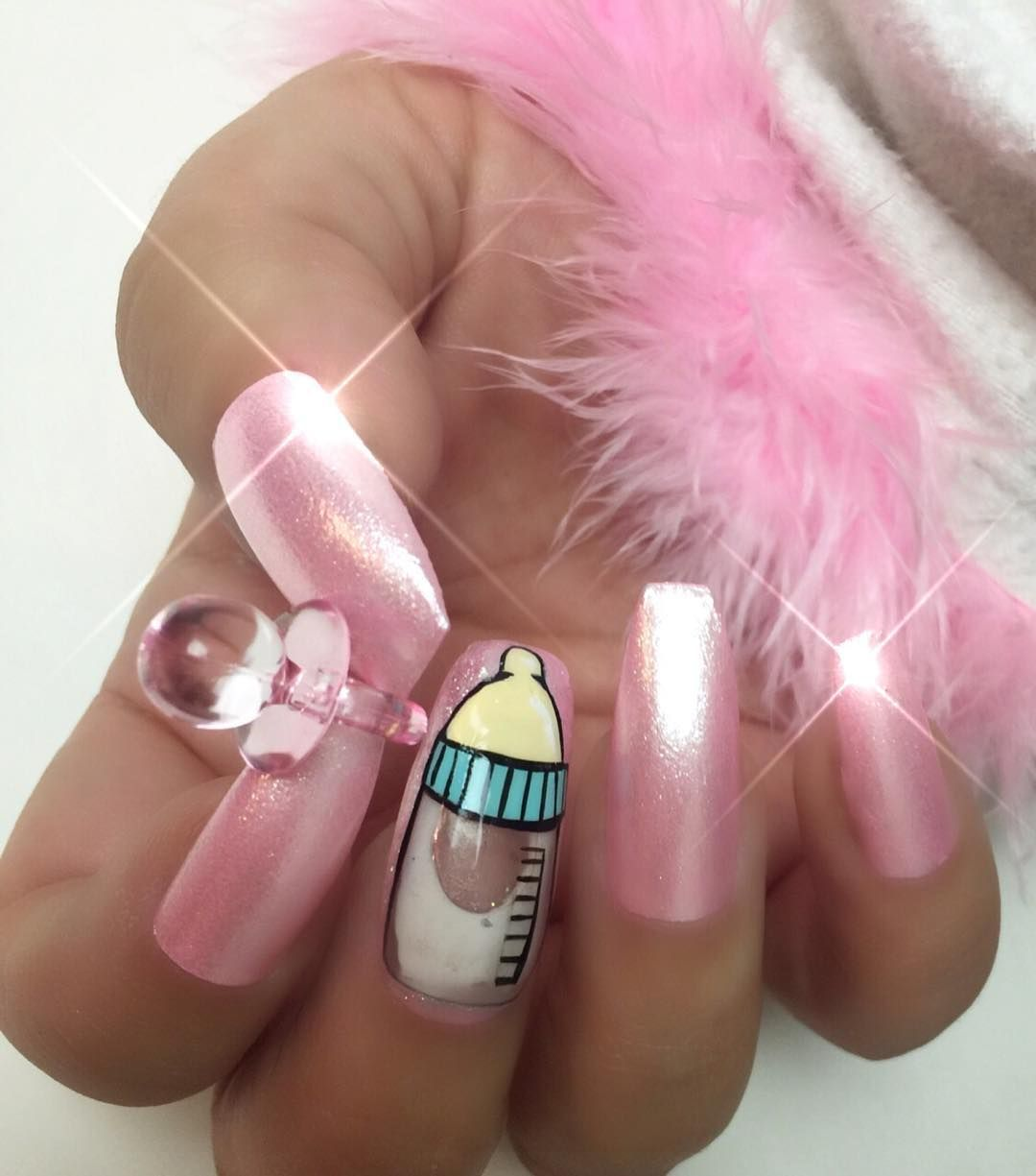 """tres_she on Instagram: """"Baby girl nails with milky aquarium nail ..."""