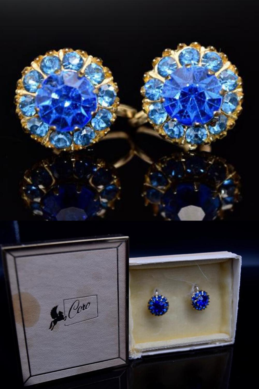 Vintage Coro Screwback Earrings Blue Rhinestone Gold Tone Flower Shape