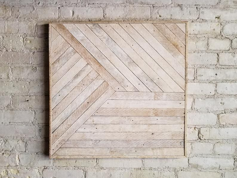 Reclaimed Wood Wall Art Decor Lath Pattern Geometric Etsy Wood Wall Art Decor Reclaimed Wood Wall Reclaimed Wood Wall Art