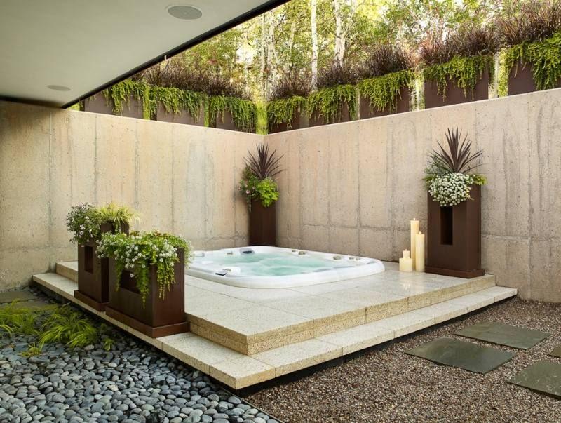 Whirlpool Für Außen Garten Halb Einbau | Outdoor Lounge ... Outdoor Whirlpool Wellness Eigenen Garten