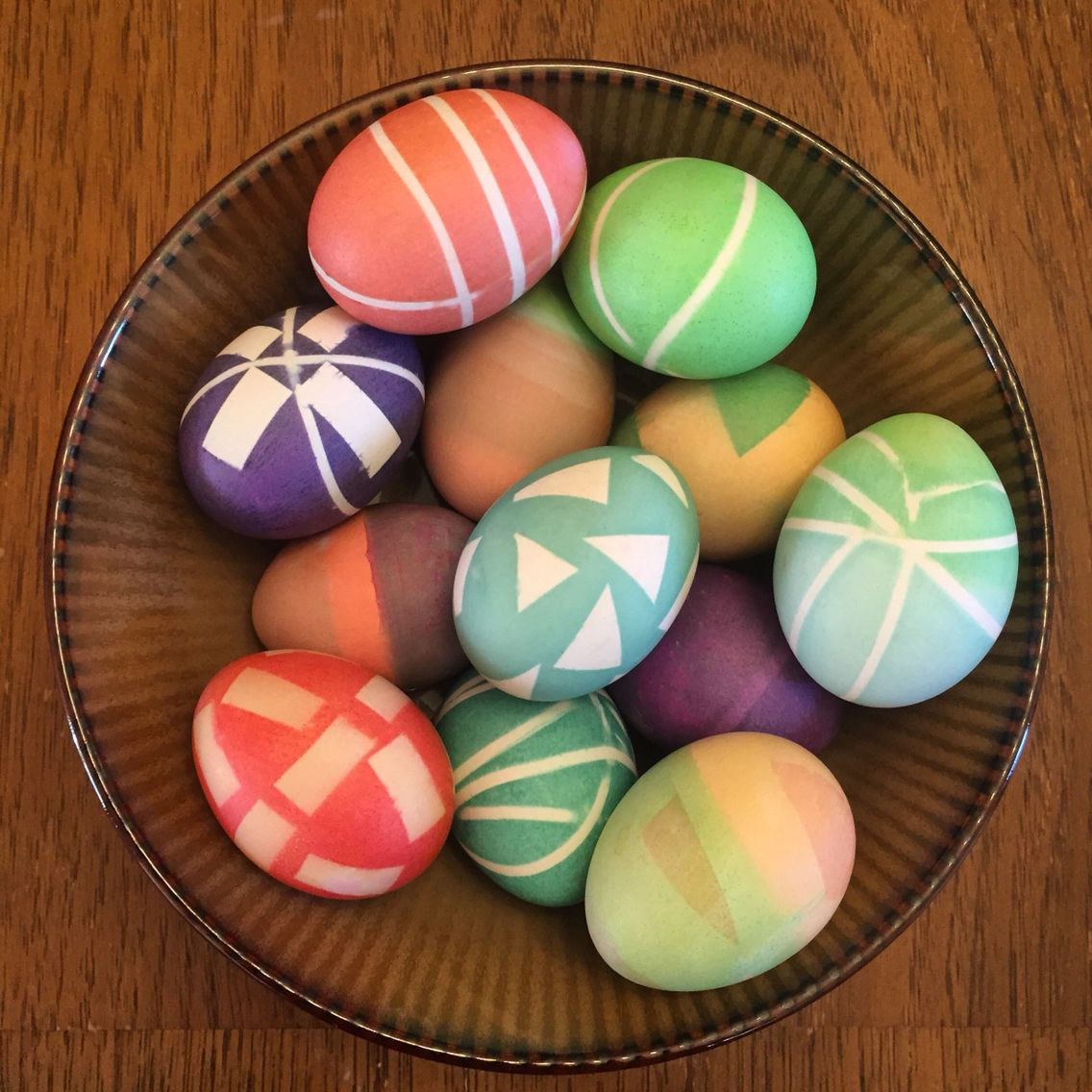 Abstract Easter eggs- rubber bands & electrical tape