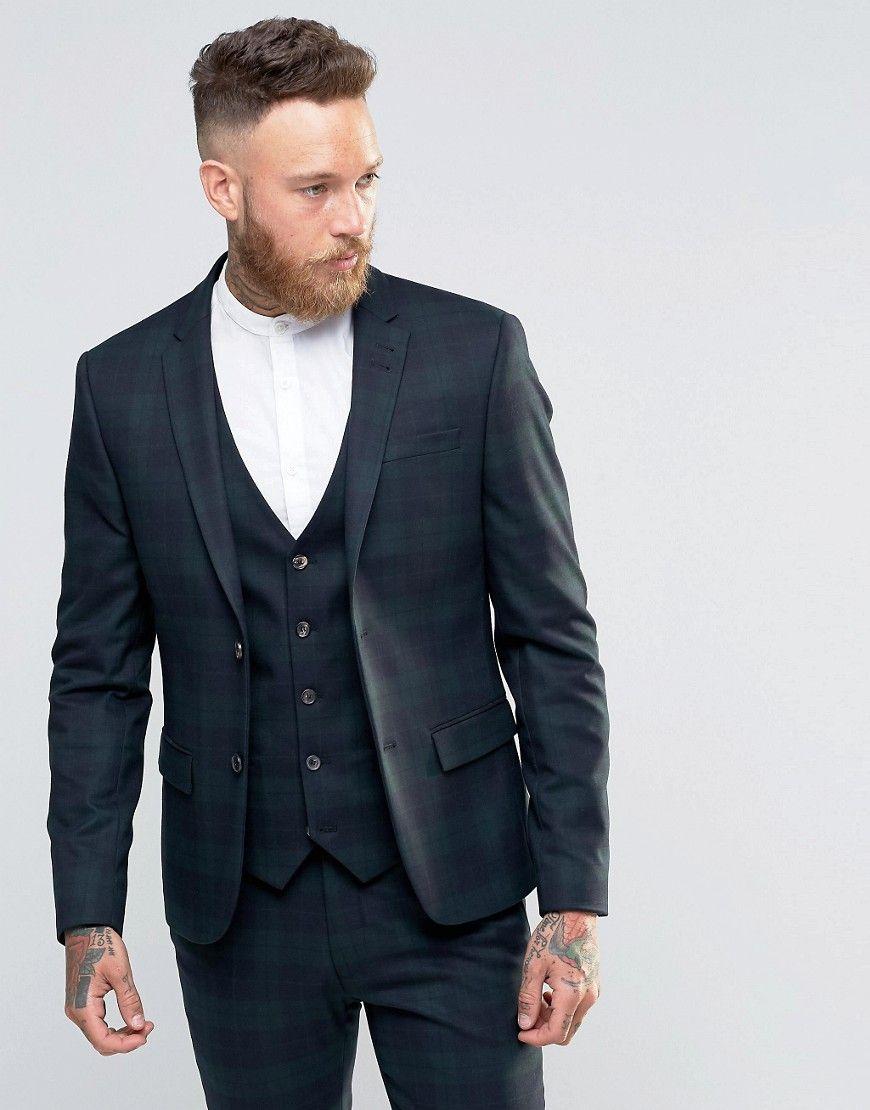 River Island Skinny Fit Tartan Check Suit In Dark Green | suits ...
