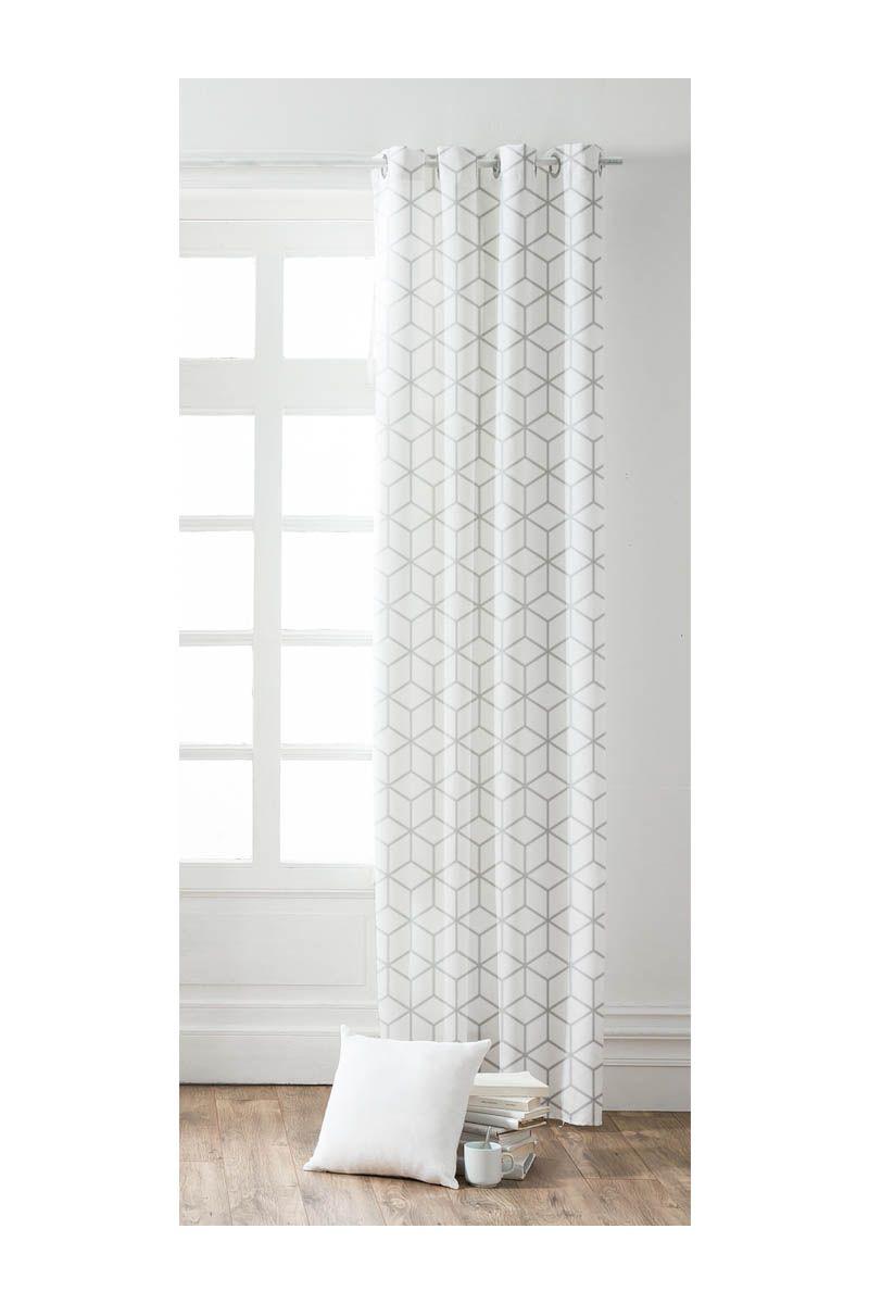rideau occultant blanc graphique cube salon room. Black Bedroom Furniture Sets. Home Design Ideas