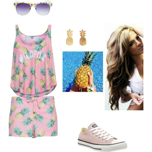 PINEAPPLES by briahicks on Polyvore featuring polyvore fashion style Wildfox Converse Vinca Wet Seal