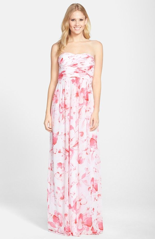 Donna Morgan \'Stephanie\' Strapless Ruched Chiffon Gown | Nordstrom ...