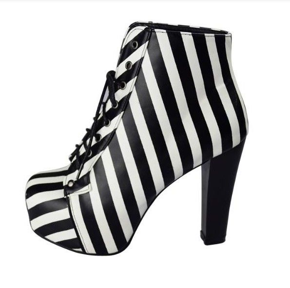 2013 Jeffrey Campbell Imitation Short Boots Black White Stripe Thick Heel High Heeled Plus Size Women's Boot Cross Leggings $34.96