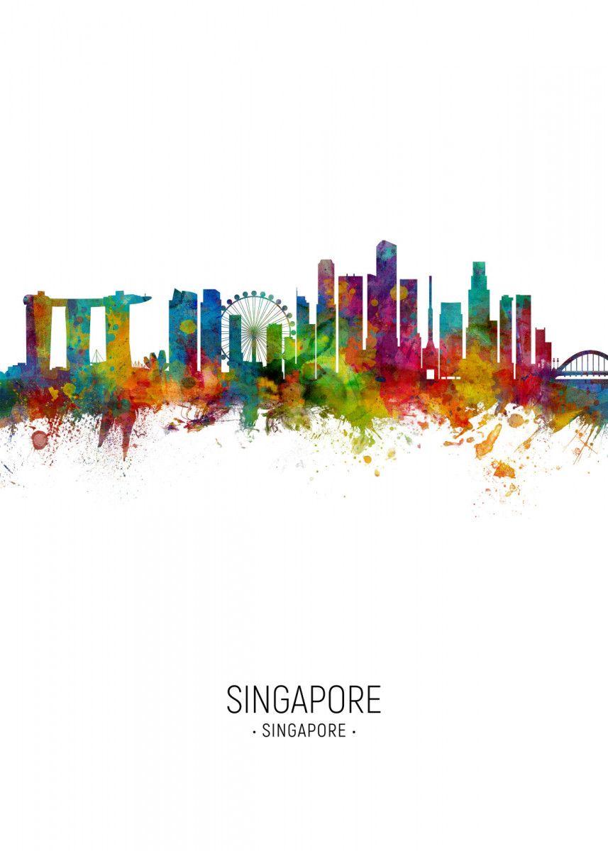 Singapore Skyline Landscapes Poster Print Metal Posters In 2020 Cityscape Art Art Prints Poster Prints