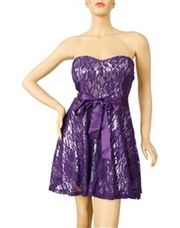 Ladies Strapless Lace Dress With Ribbon Sash