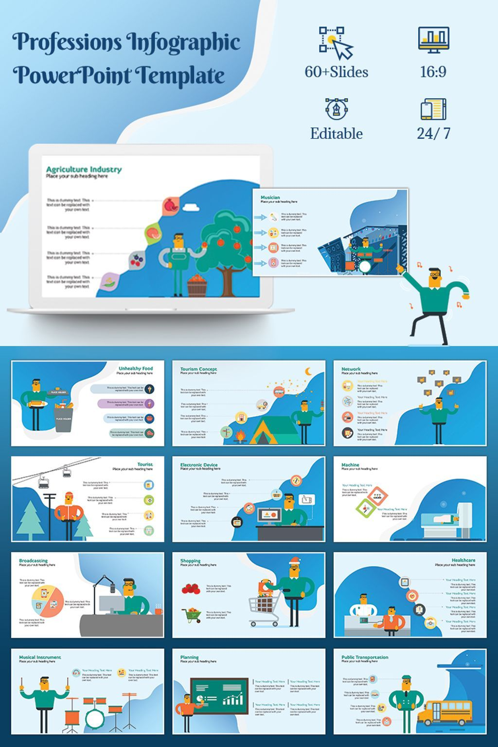 professions infographic powerpoint template new website templates