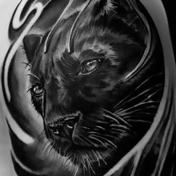 Cool Realistic Black Panther Sleeve Tattoo Idea Panther Tattoo Black Panther Tattoo Black Panther