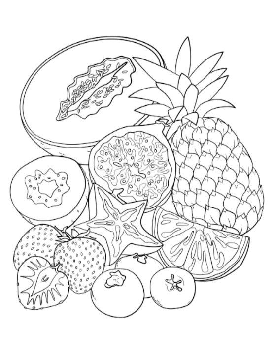 Pin By Fried Dandelions On Coloring Pages Fruit Coloring