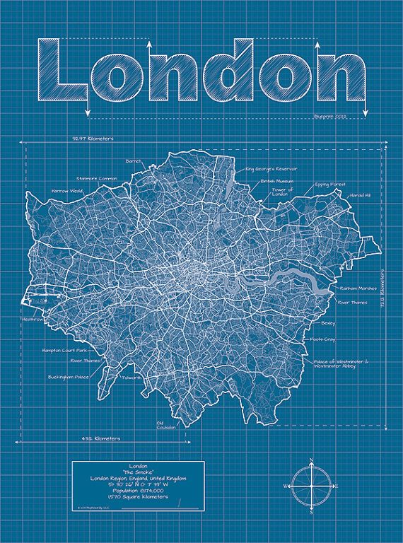 London map original artwork london map art wall art london artistic blueprint map by maphazardly on etsy 3000 malvernweather Image collections