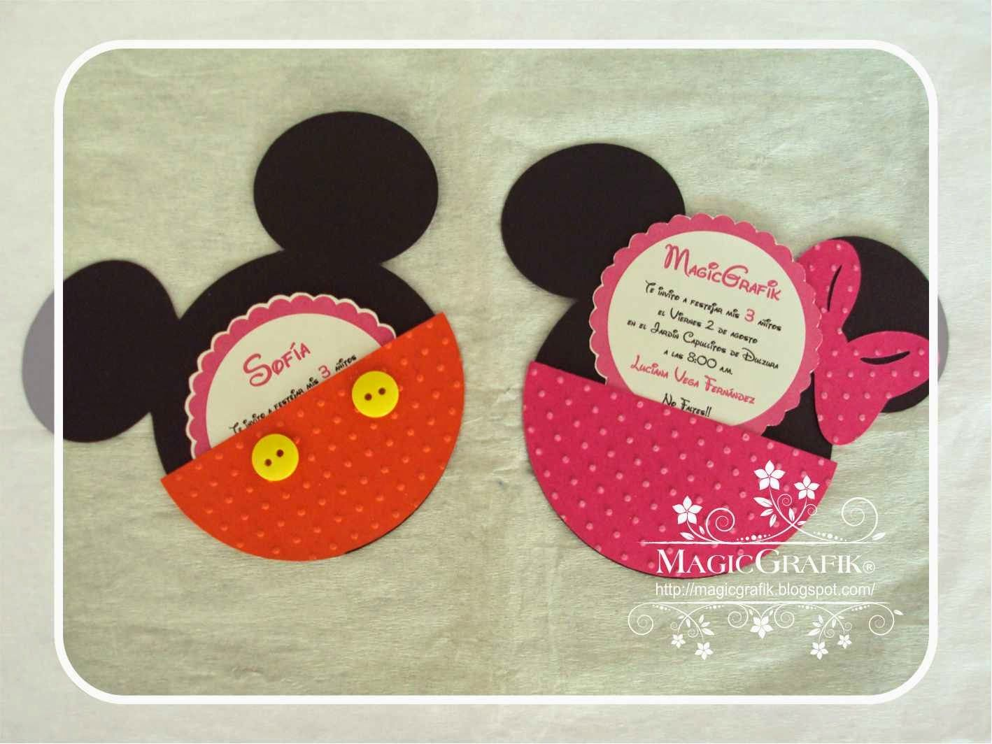 Invitacion Cumpleaños Mickey And Minnie Tarjetas Minnie