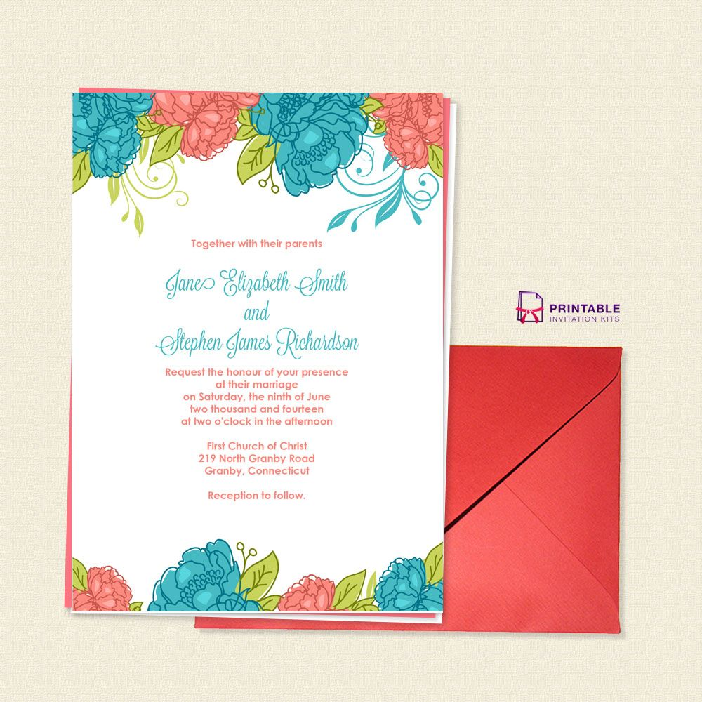 FREE PDF Download. Summer Blooms Wedding Invitation. For ...