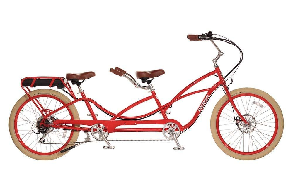 Pedego Tandem Red With Creme Balloon Package Tandem Bike Bicycle Best Electric Bikes