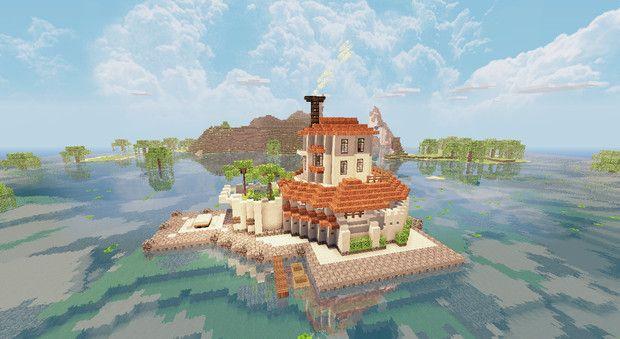 Minecraft 海に浮かぶ別荘 ないさ さんのイラスト マインクラフト
