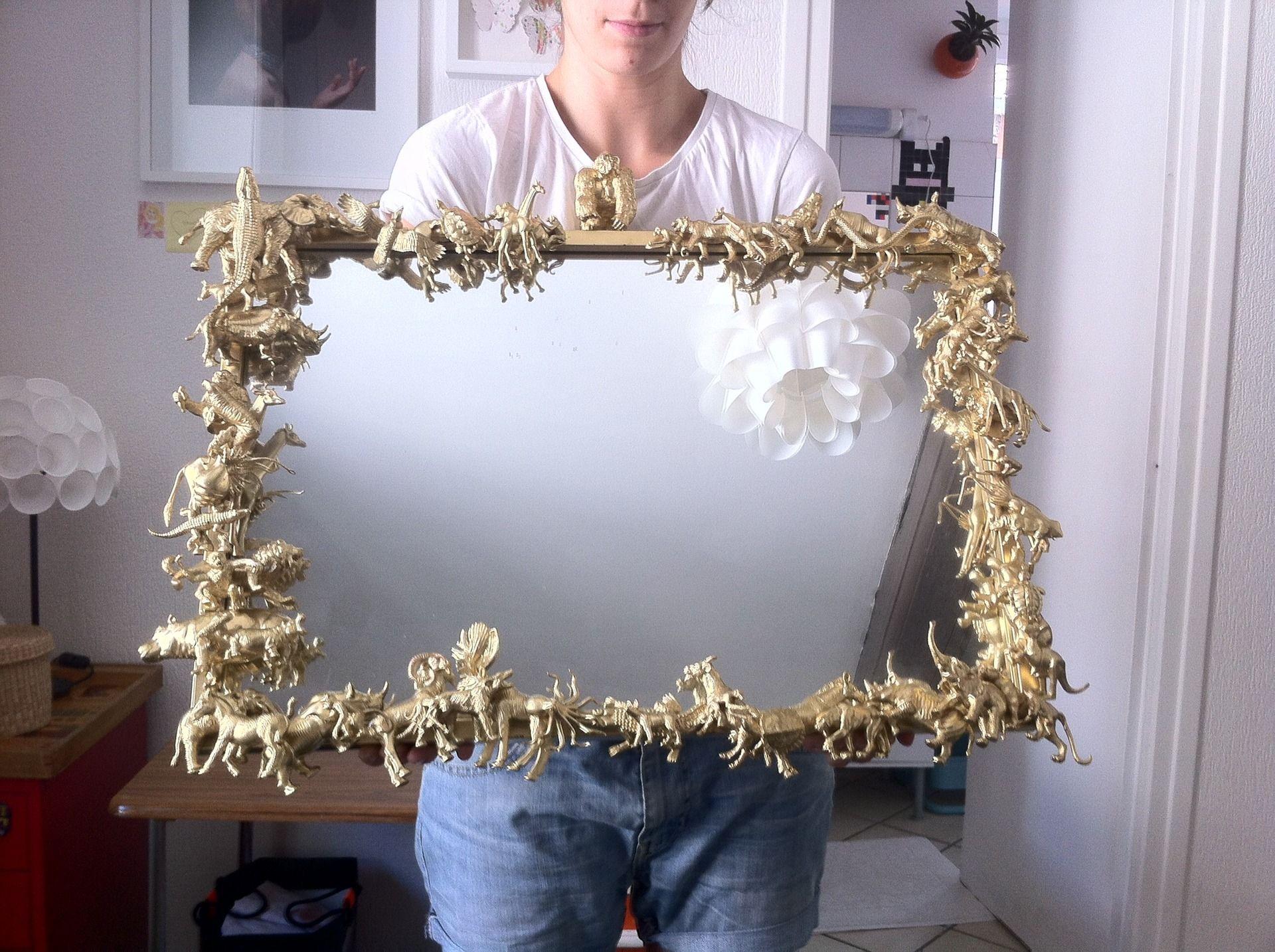 miroir d coratifs jungle cadre bois avec animaux dor s. Black Bedroom Furniture Sets. Home Design Ideas