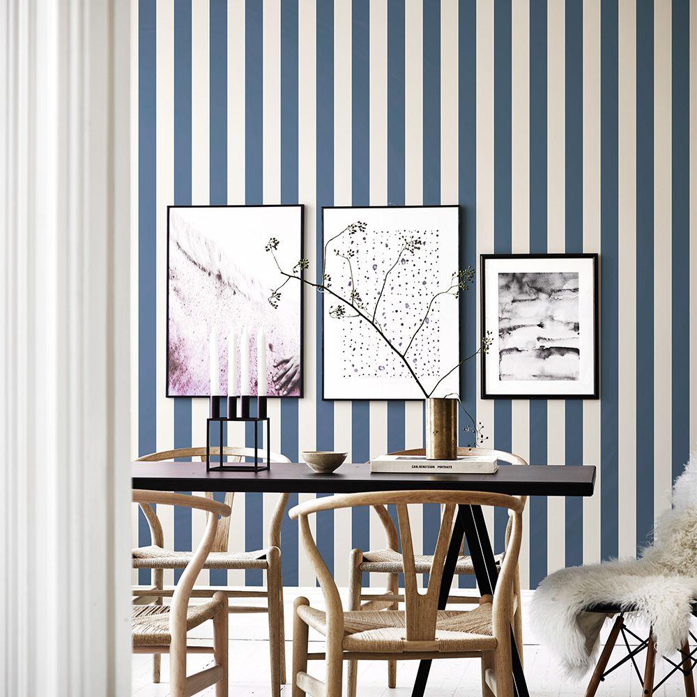 streifentapete von sandberg aus schweden william blau. Black Bedroom Furniture Sets. Home Design Ideas