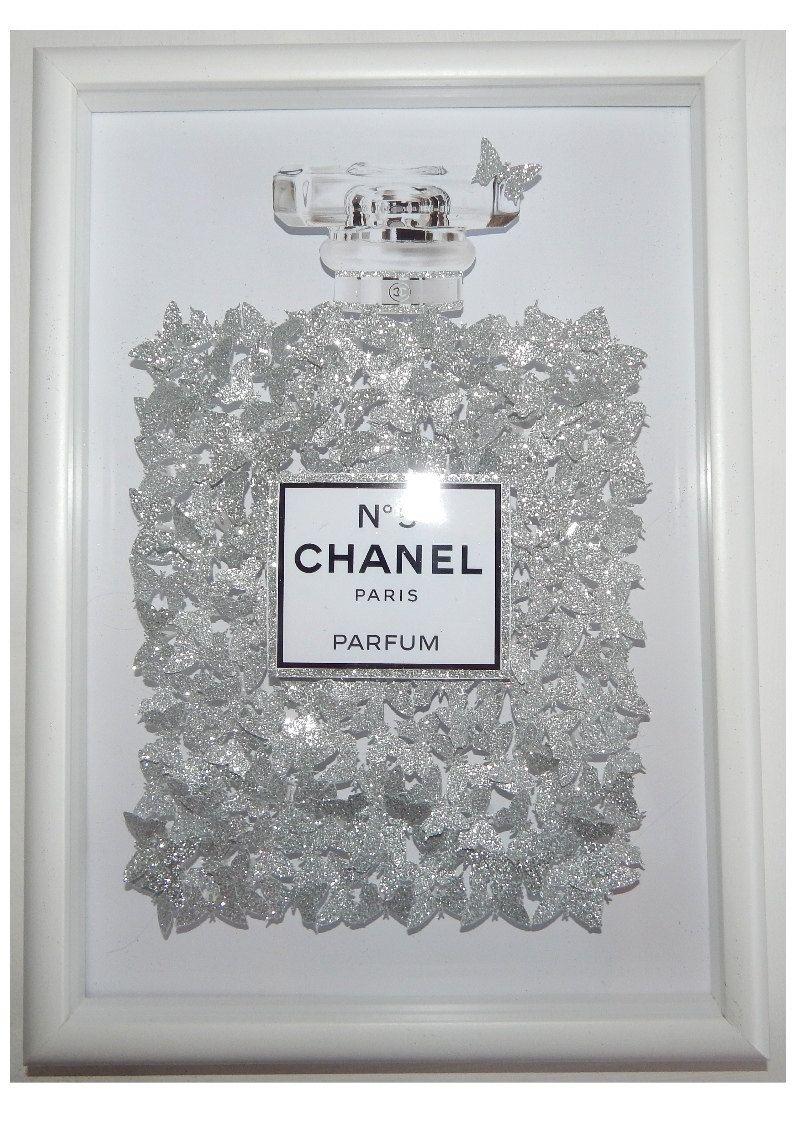 fb32ea7c721d Glitter picture Chanel no 5 with 100 s of silver glitter butterflies ...