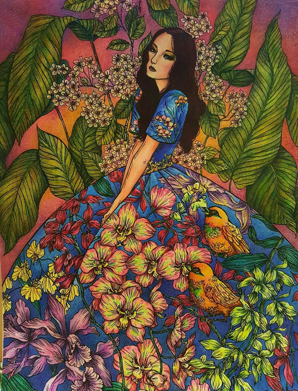 Moonblossoms Coloringbook Katrinapallon Asian Art Beautiful Art Illustration Art
