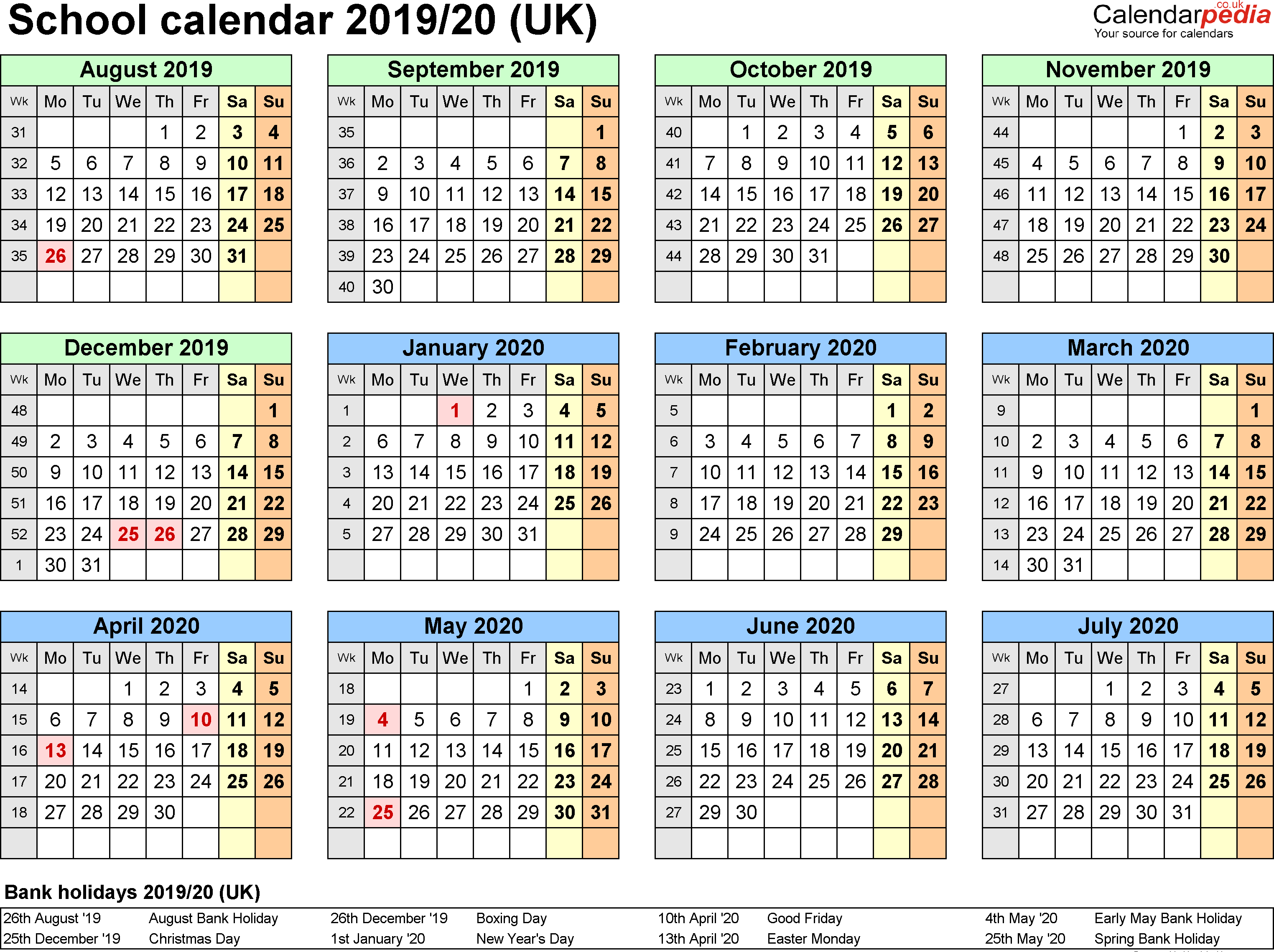 Uk School Calendar 2019 School Holidays 2019 Calendar in UK | UK FEDERAL HOLIDAYS | 2019