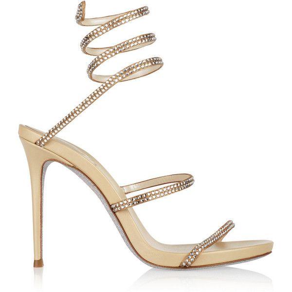 RENé CAOVILLA Designer Shoes, Satin and Crystals High Heel Sandals