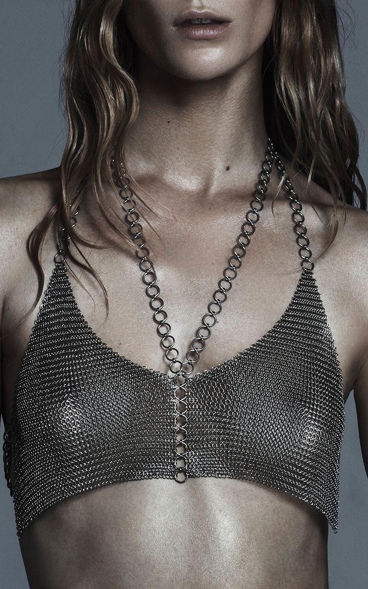 Halter Mesh Crop Top by Fannie Schiavoni | Moda Operandi