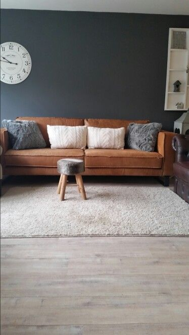 Karwei bank leer grof cognac stoer woonkamer for Cognac kleur combineren interieur