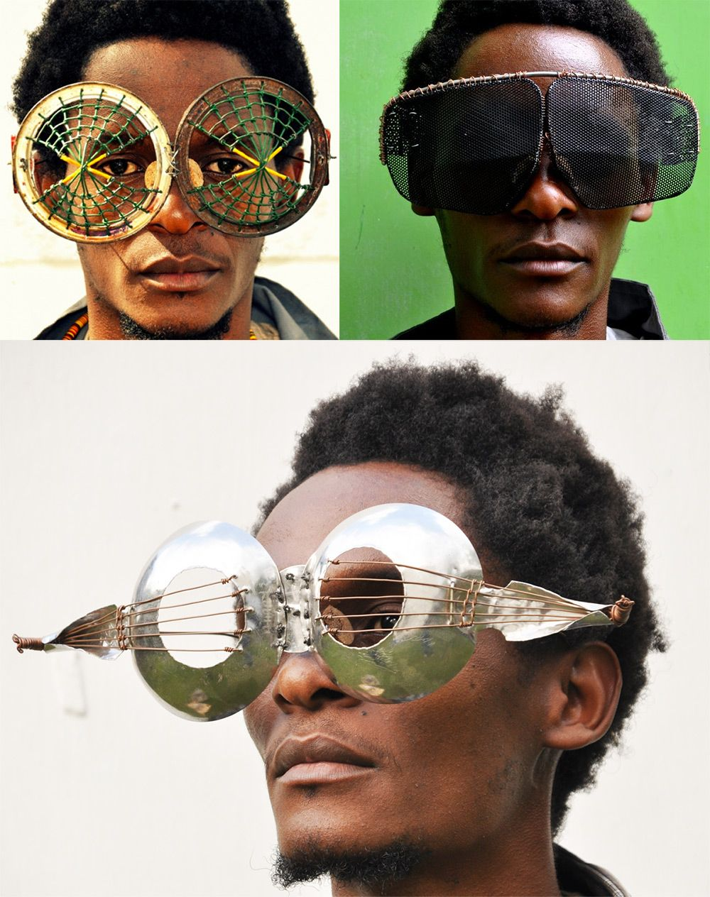 Kenyan Artist Digs Through Electronic Refuse and Found Metal to Create Dazzling Sculptural Eyewear