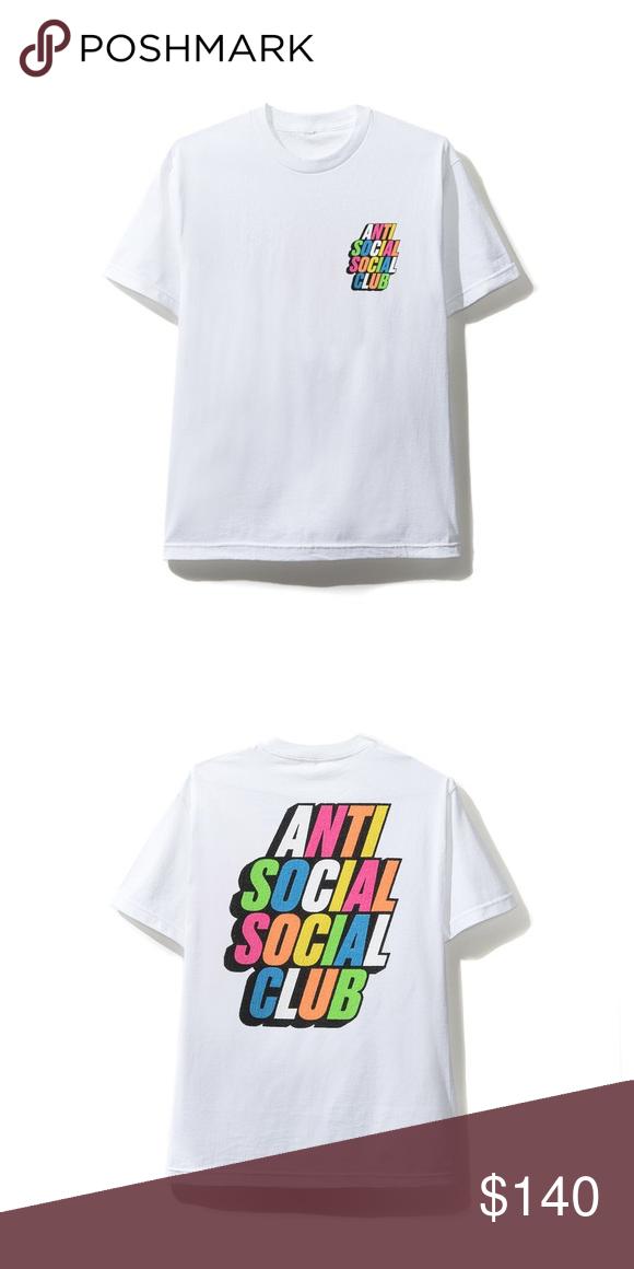 Blocked Rainbow White Tee New Brand Anti Social Social Club White Tees Social Club