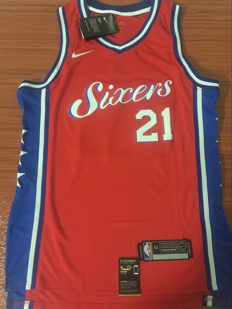 5872185968f Men 21 Joel Embiid Red Jersey City Edition Philadelphia 76ers Jersey  Fanatics