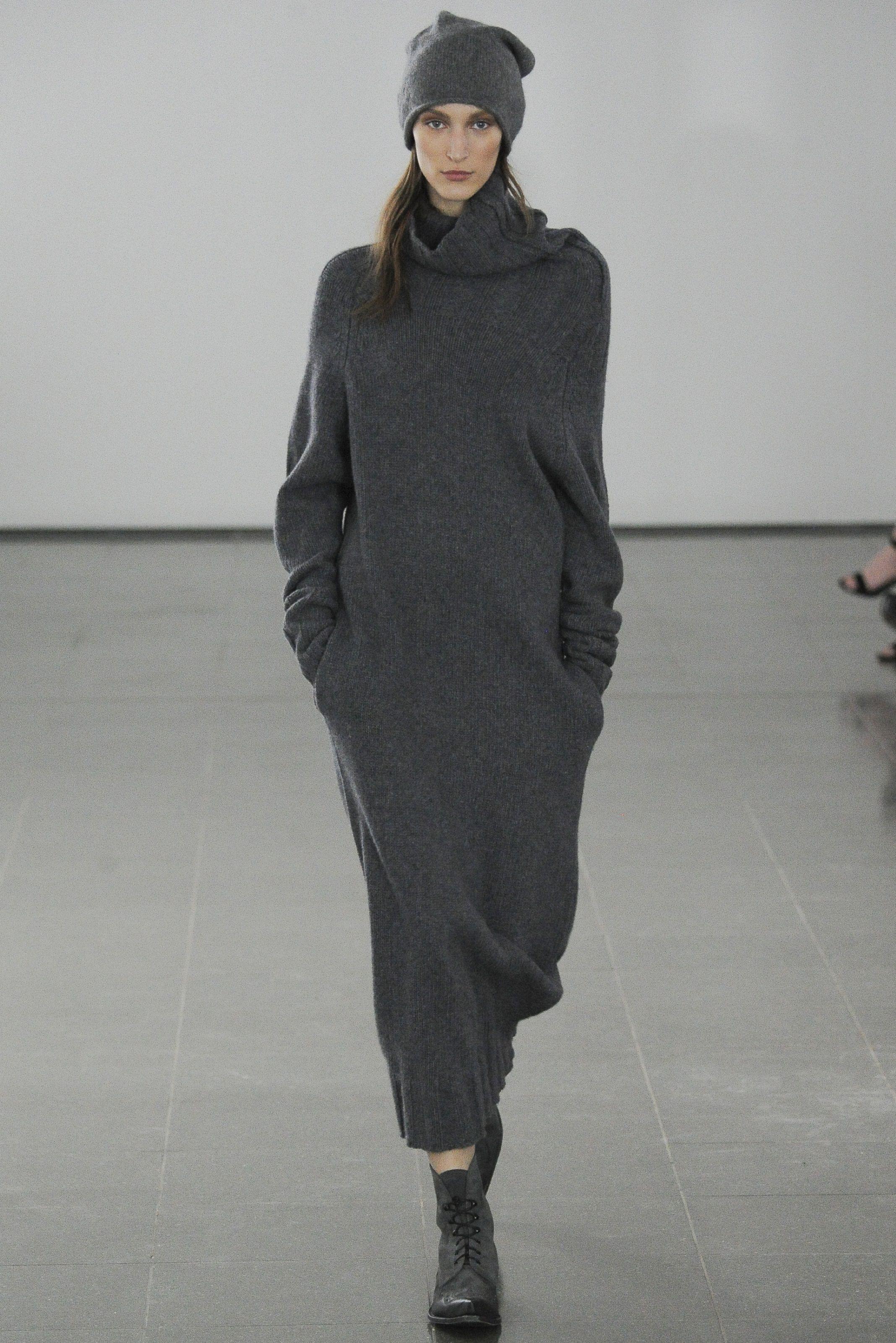 df555b30590a0c Dark grey long knitted dress by Joseph. Fall 2014.