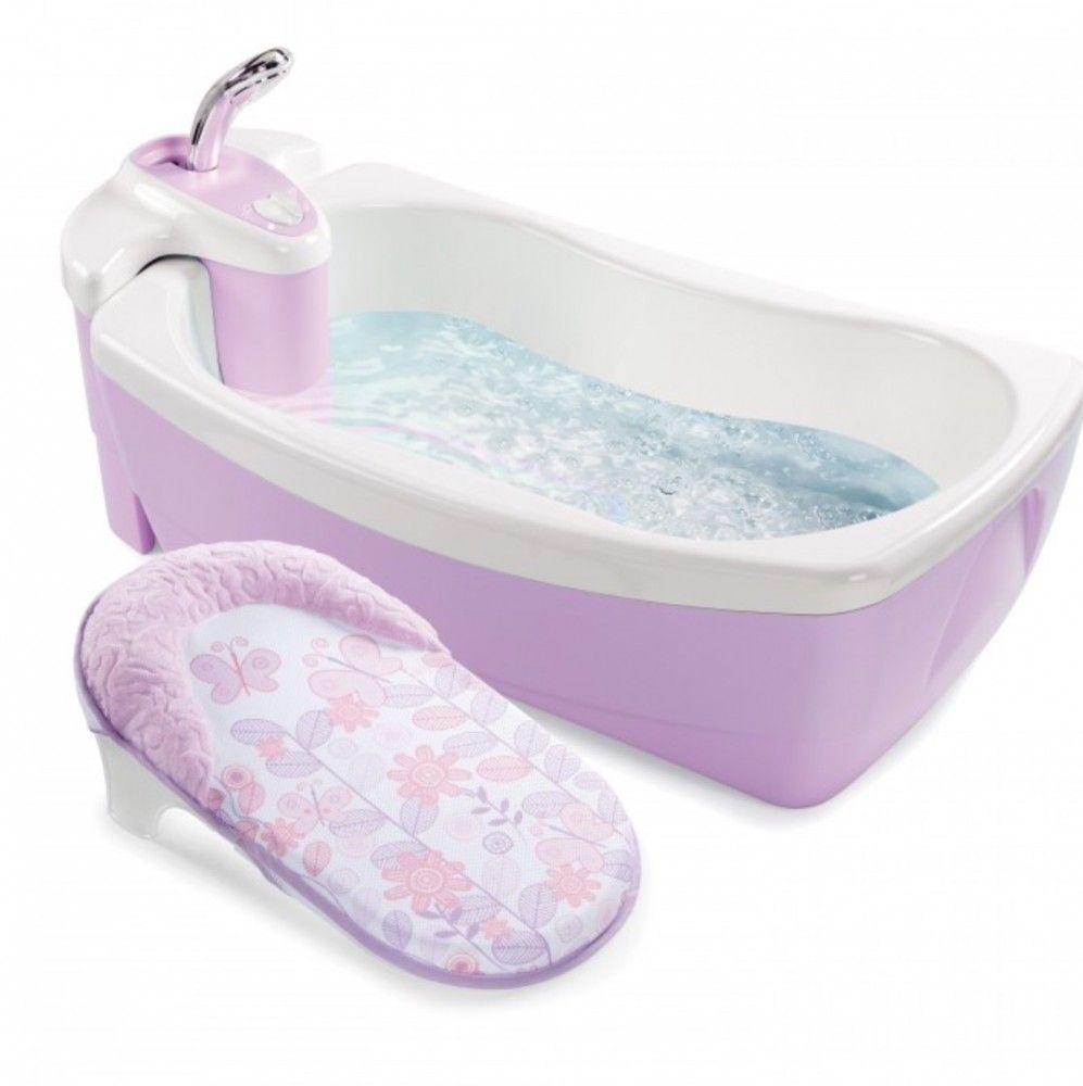 Bañera Hidromasaje Spa Lil Luxuries Pink De Infanti Bañera Con Hidromasaje Crea Burbujas Para Su Entretenimiento Baby Bath Tub Baby Tub Baby Spa