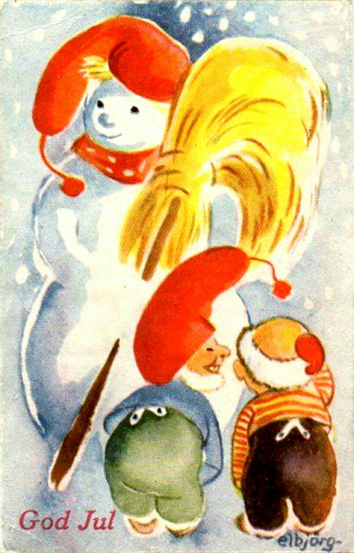 Julekort Elbjørg Øien Nisse Moum brukt 1943 Utg Oppi