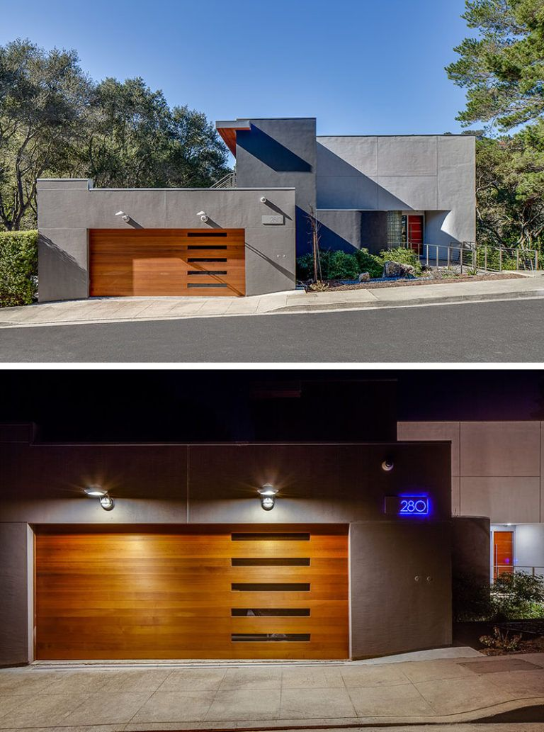 18 inspirational examples of modern garage doors the five horizontal windows of this garage door give it a unique look while the lights above it give the