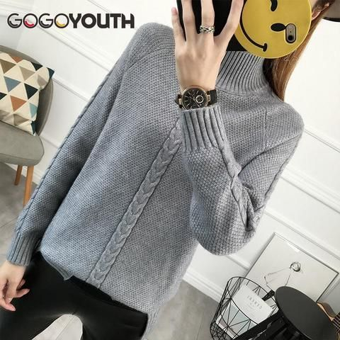 83bacc4004d Gogoyouth Sweater Women For Winter 2018 Autumn New Split Long Sleeve Jumper  Women Turtleneck Ladies Pullover Cashmere Pull Femme