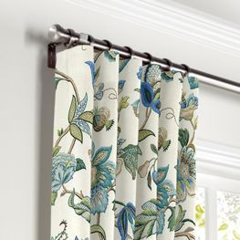 Good Jacobean Blue Floral Curtains With Pocket Close Up