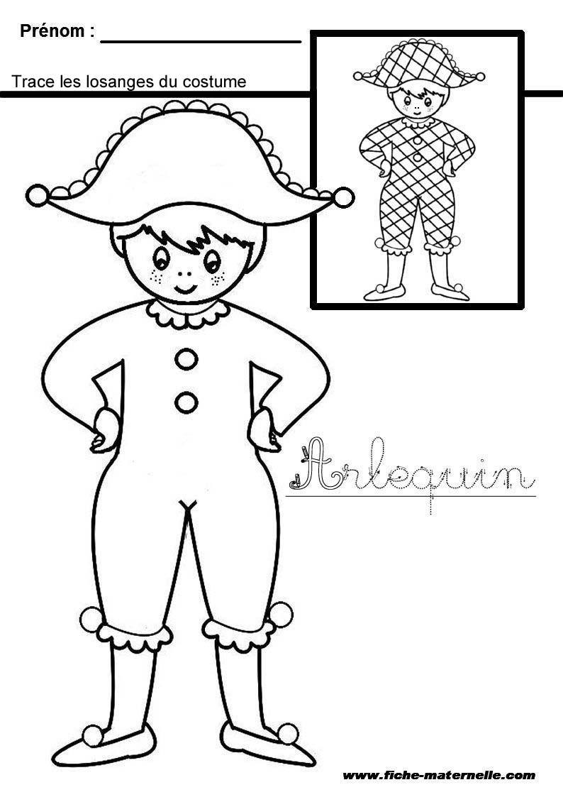 Arlequin graphisme en maternelle site visiter graphisme pinterest maternelle carnaval - Coloriage arlequin maternelle ...