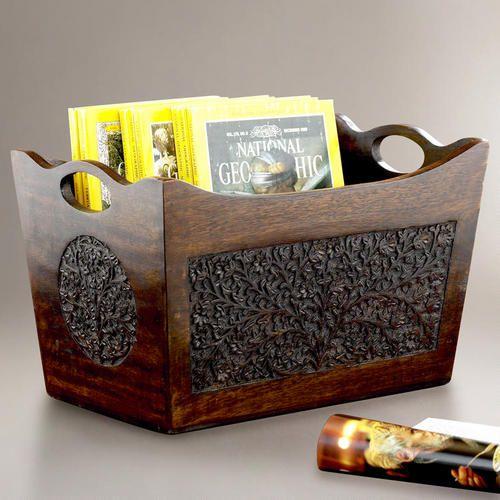 Carved Wood Magazine Holder Gallery