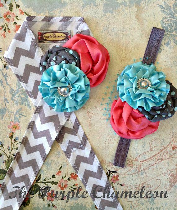 Gray Aqua and Coral Chevron Head Wrap Tie on Headband Shabbuy Chic Headwrap img; CUTE!!