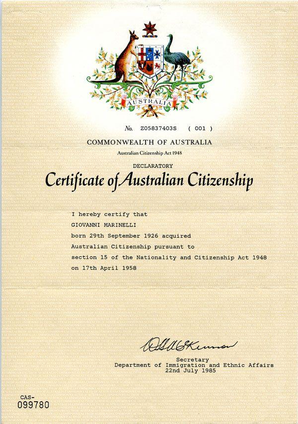 Certificate Of Australian Citizenship Italian Australians