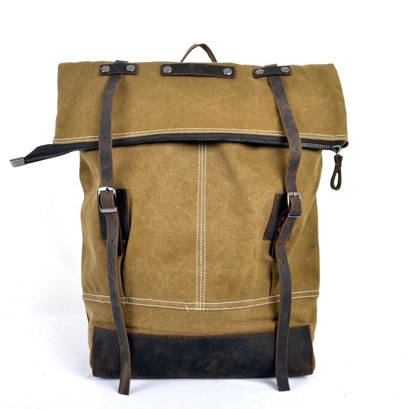 High Quality Vintage Fashion Casual Canvas Crazy Horse Leather Women Men  Backpack Rucksack Shoulder Bag Bags For Men Women 1004 13c2982cf2d34
