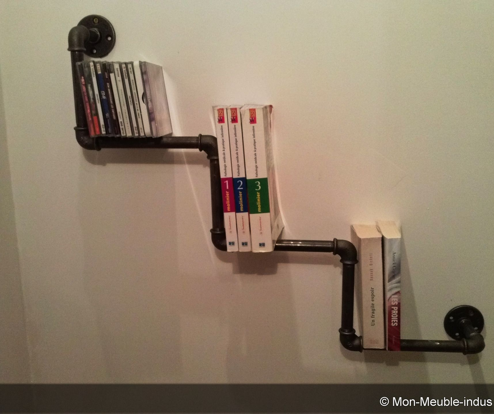 Support mural pour livres ou cd en rube acier industriel - Meuble pour livre ...